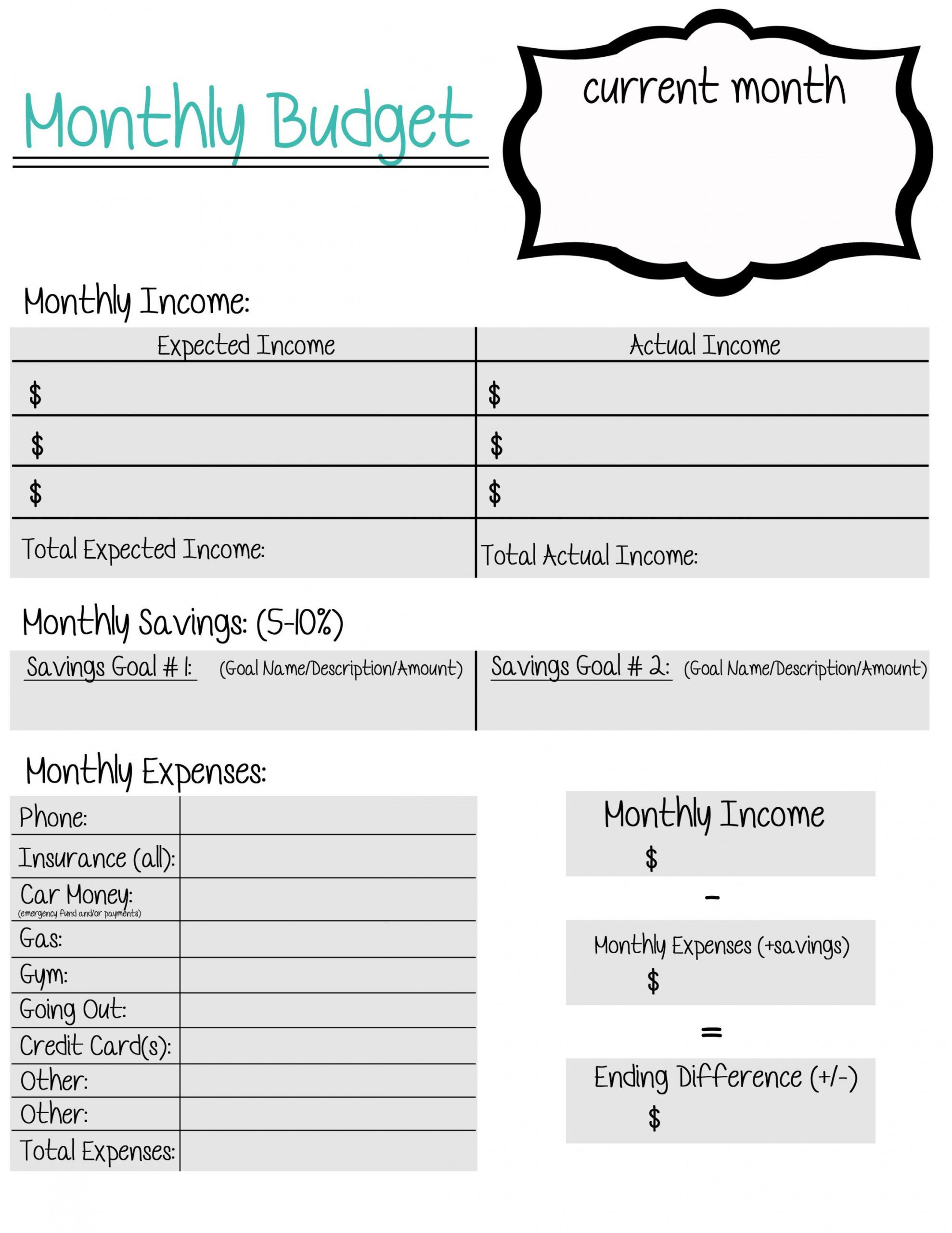 Editable Military Family Budget Worksheet Monthly Bill