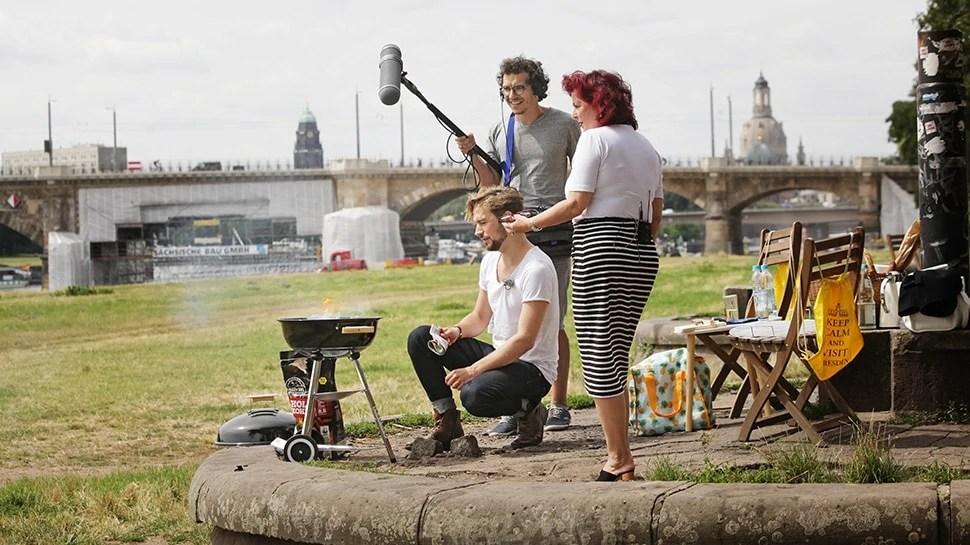 Felix Räuber und Viola Klein bei den Aufnahmen zum Dresden Elbland Podcast Episode 1