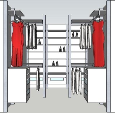 Inloopdressing ontwerp voor een aparte dressing kamer.