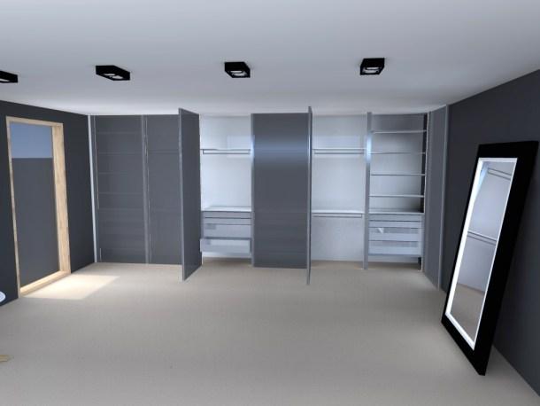 Inloopkast ontwerp met zwart glazen deuren.