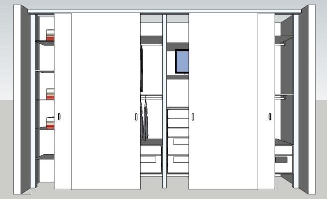 Inloopkast ontwerp met schuifdeuren voor de kast.