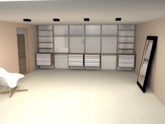 Moderne inloopkast op maat ontwerp in een slaapkamer.