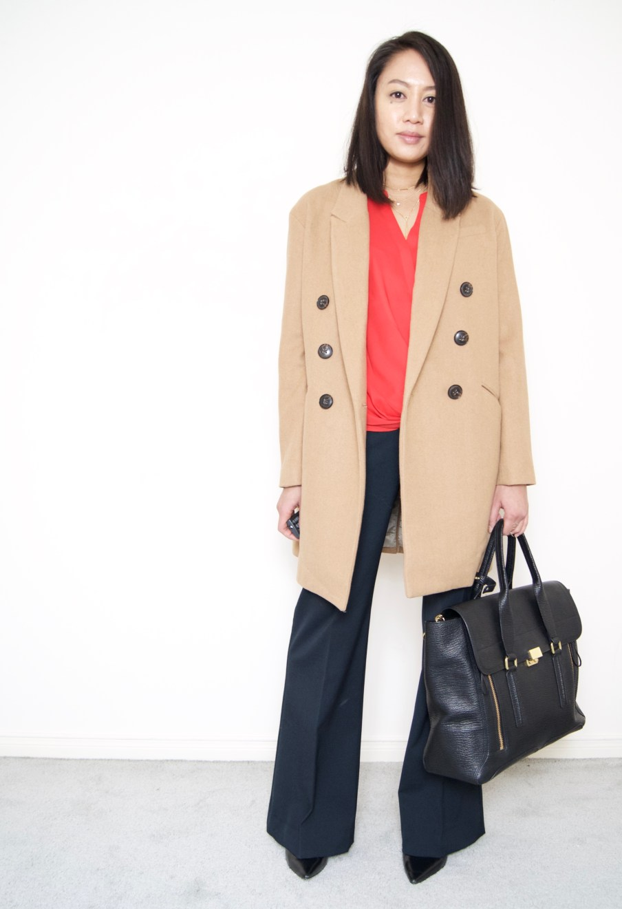 DRESSED ACCORDINGLY BLOG / Camel Coat + Wide Leg Pants + Coral Wrap Blouse