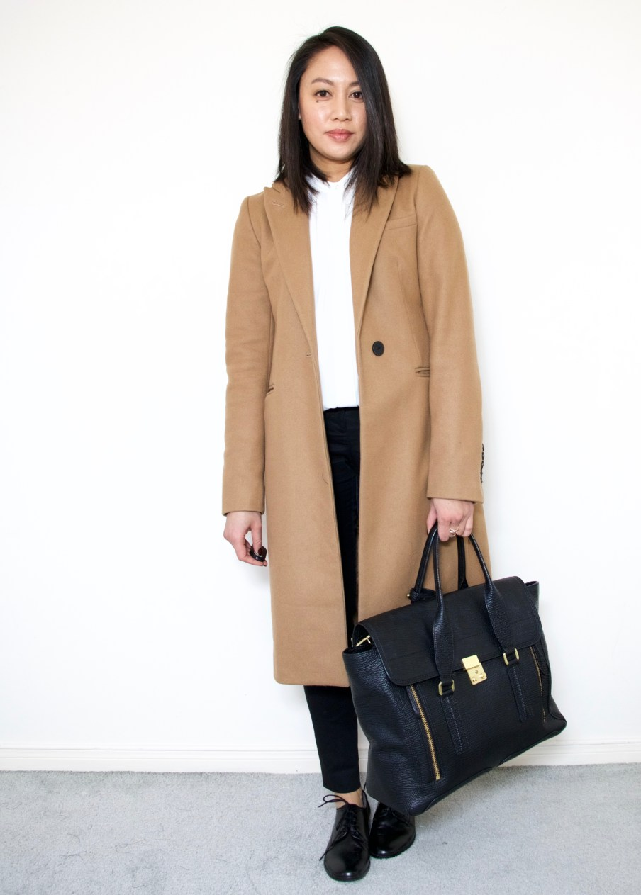 Camel Coat + Vince Oxfords