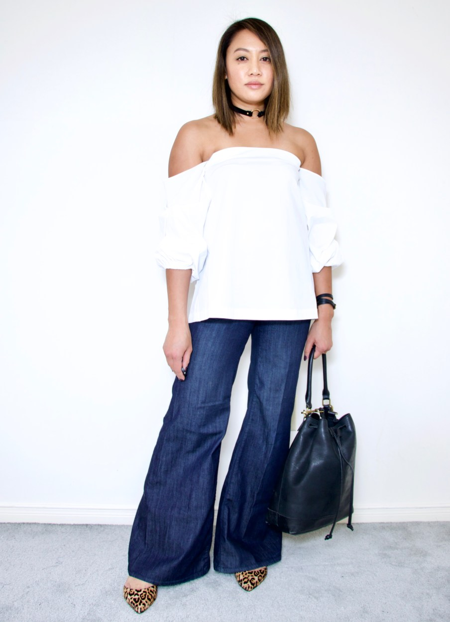 Off the shoulder top + wide leg jeans