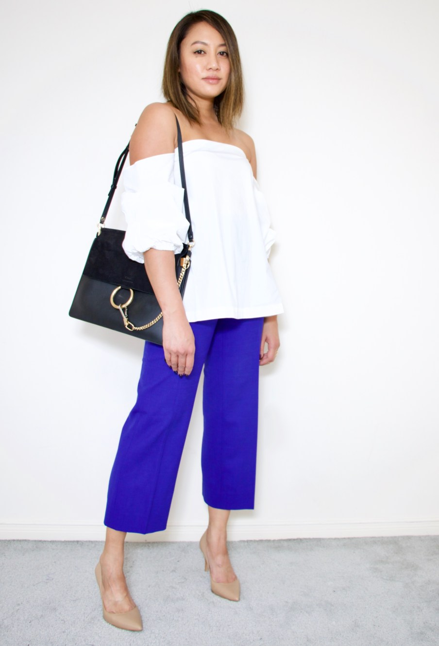 culottes + off the shoulder top