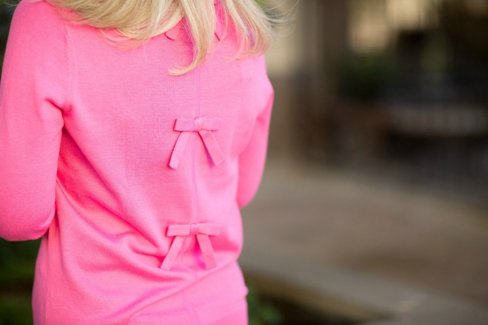Gingham Pants with Pink Sweater