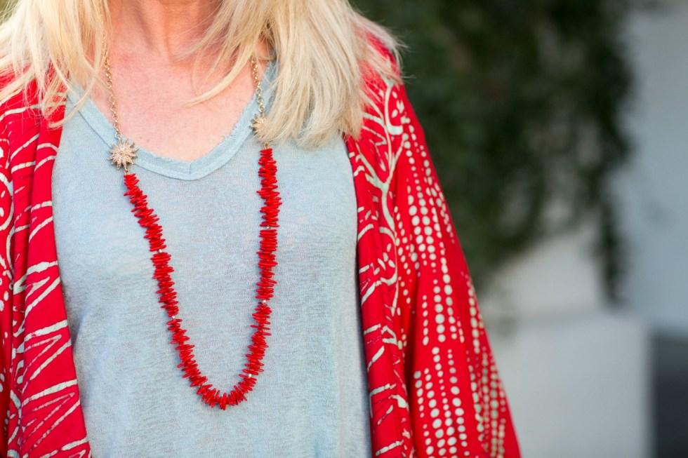 red kimono with aqua accents