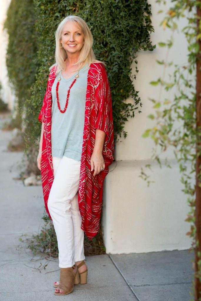 Kimono Red Aqua Top White Jeans 6