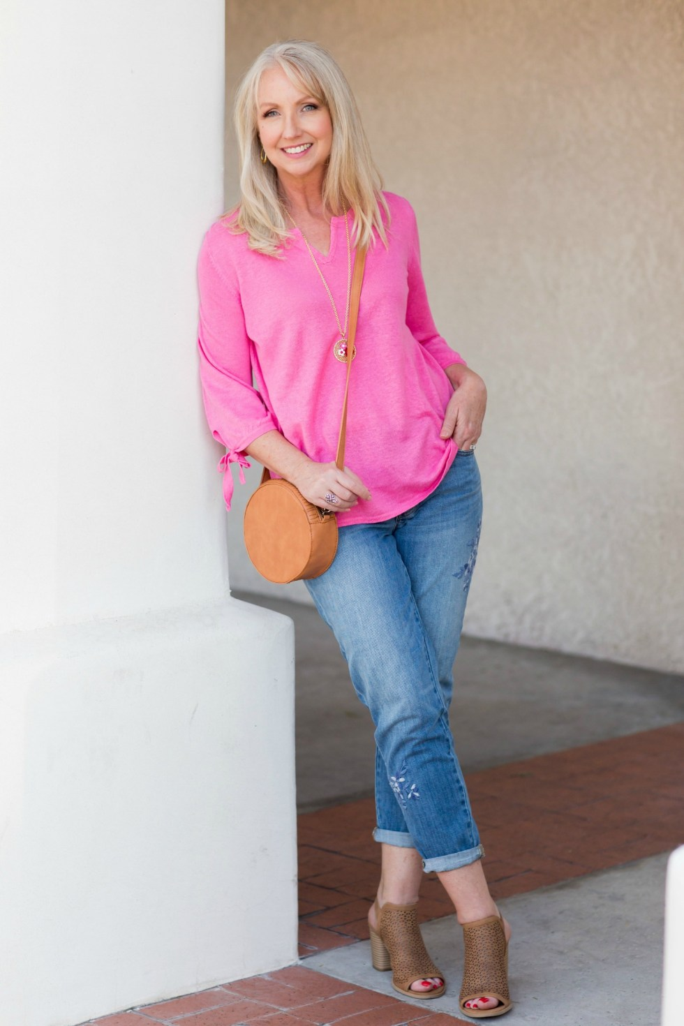 embroidered-girlfriend-jeans-pink-linen-sweater