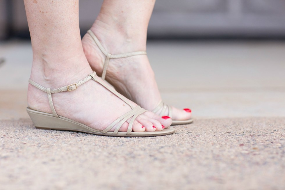 faux wrap dress with sandals