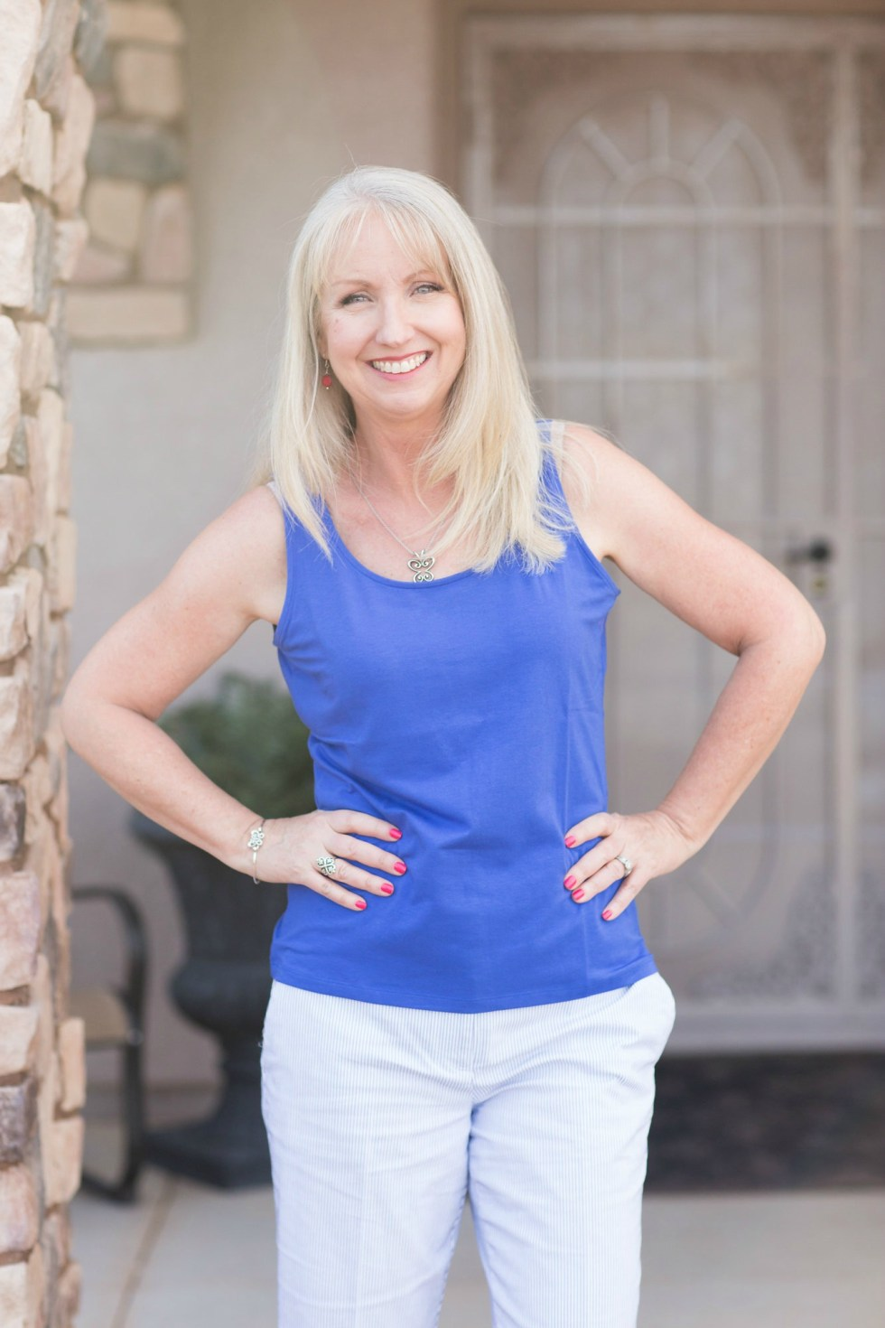 Blue Talbots Tank with Seersucker Shorts