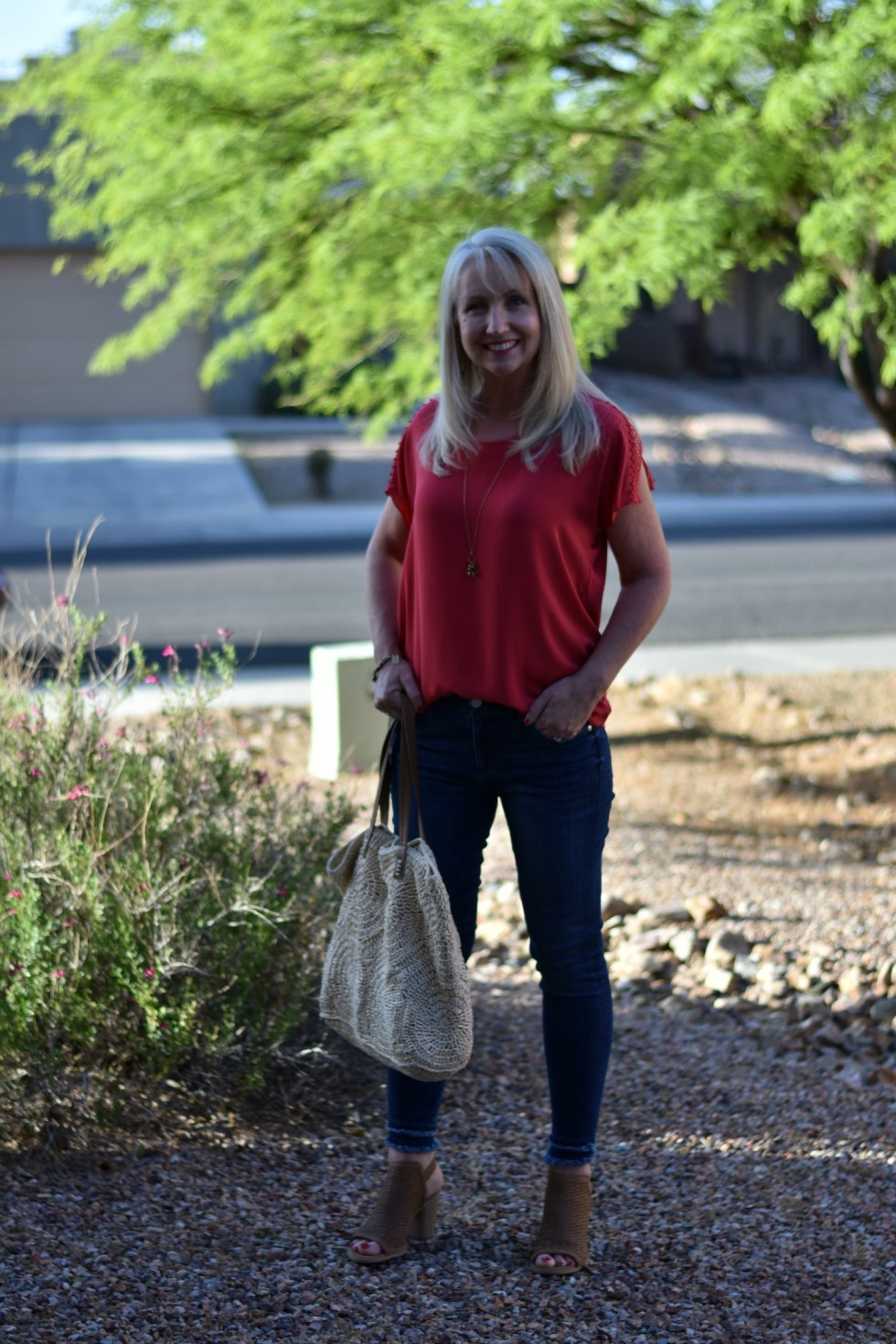 Double Frayed Hem Skinny Jeans