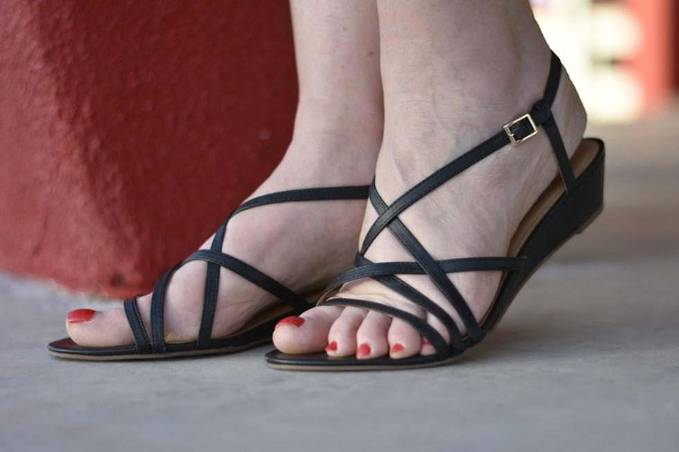 Gingham Dress Black Sandals