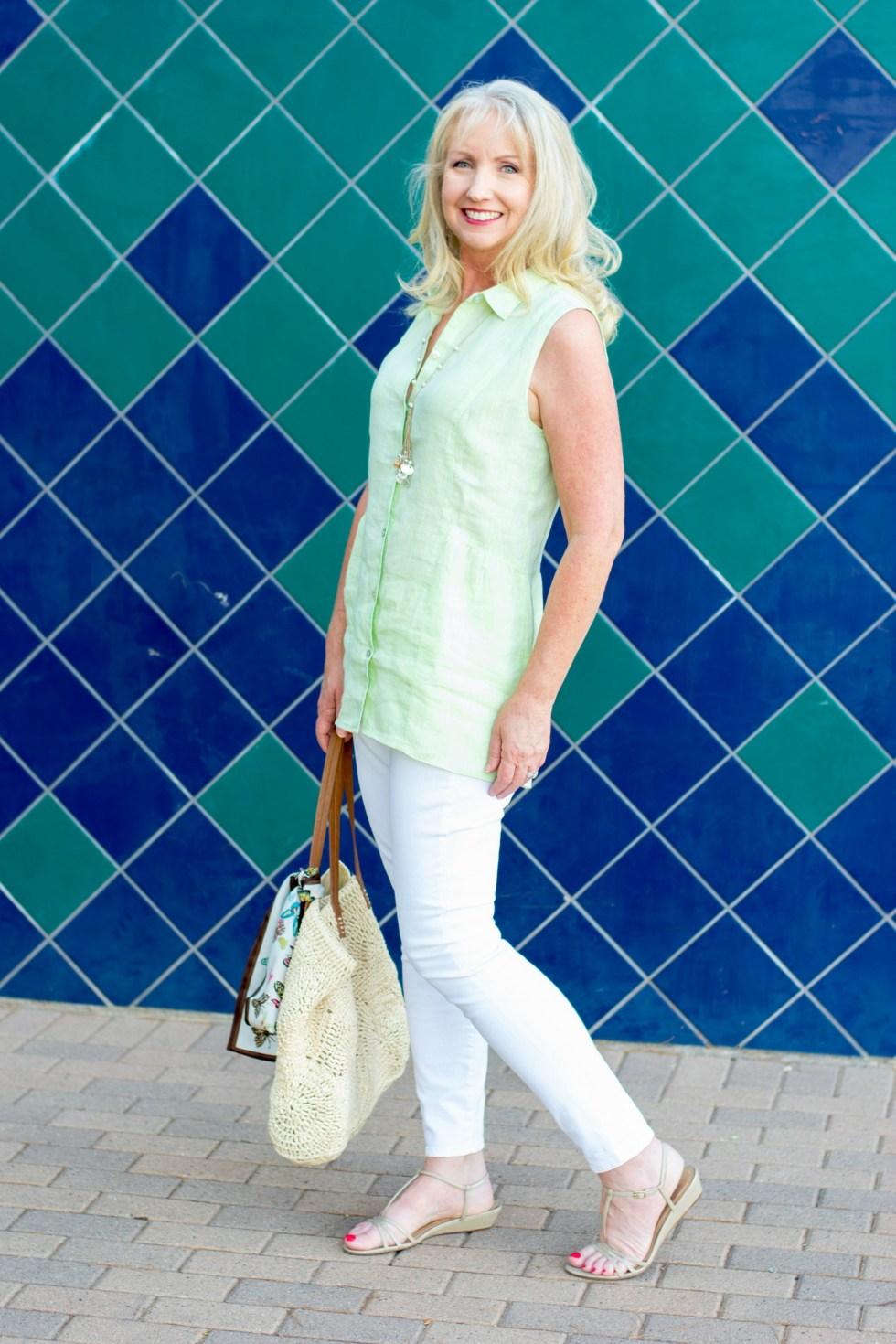 White Jeans Linen Tunic