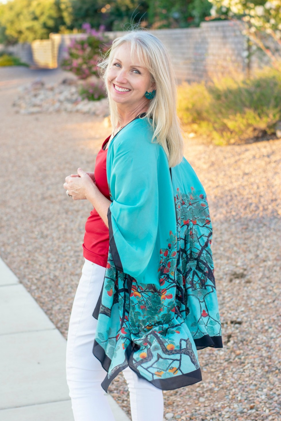 Teal Kimono for a Date Night