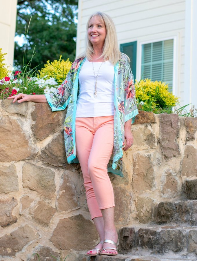 Tropical Kimono and Peach Crop Pants