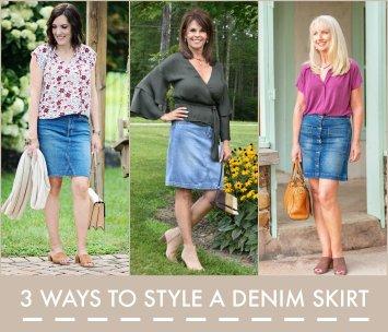 3 ways to style a denim skirt