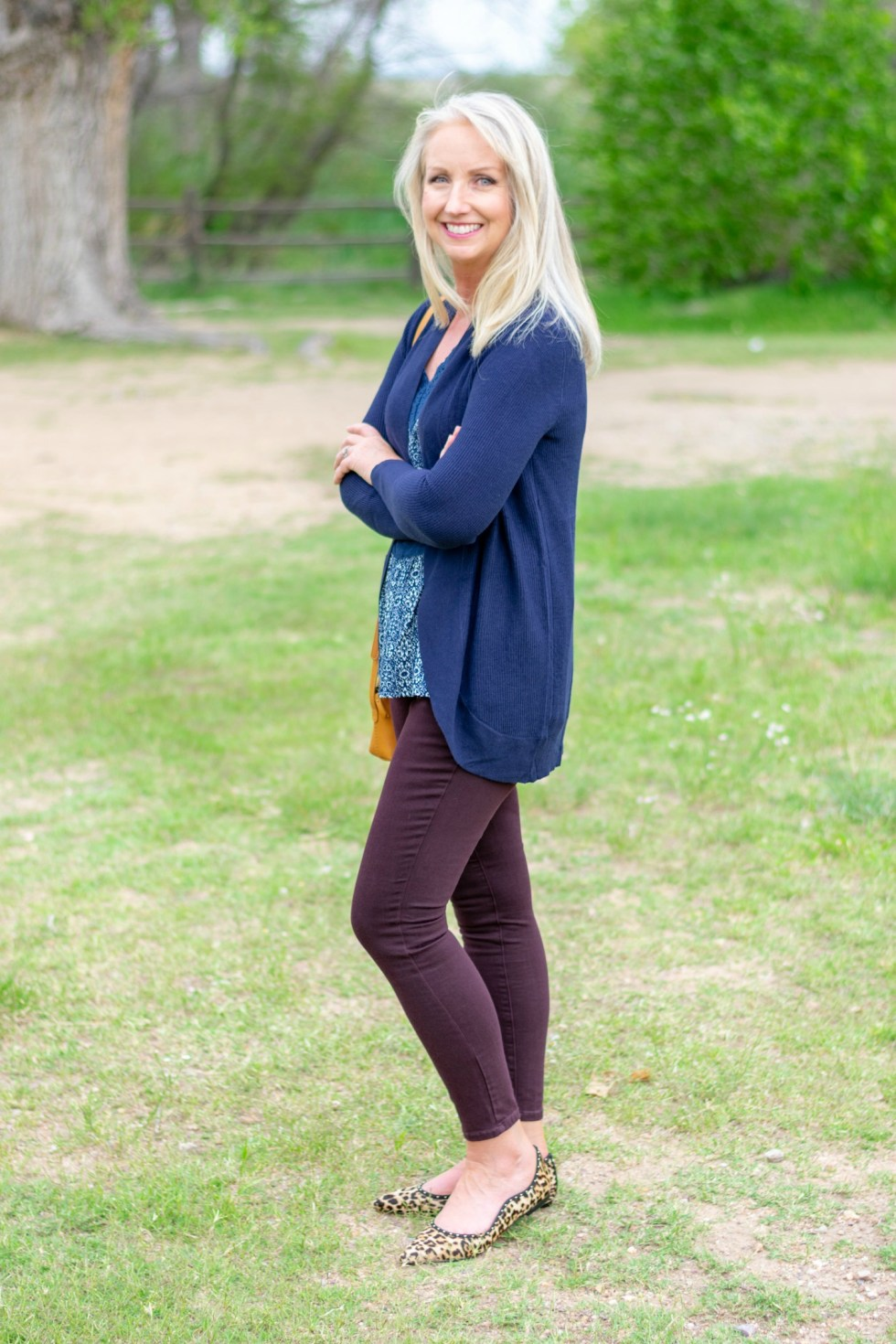 Casual Friday with Colored Denim & Cardi