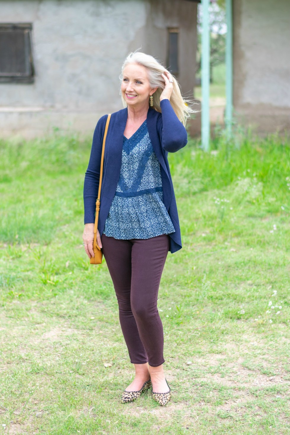 Casual Friday with Colored Denim and Cardi