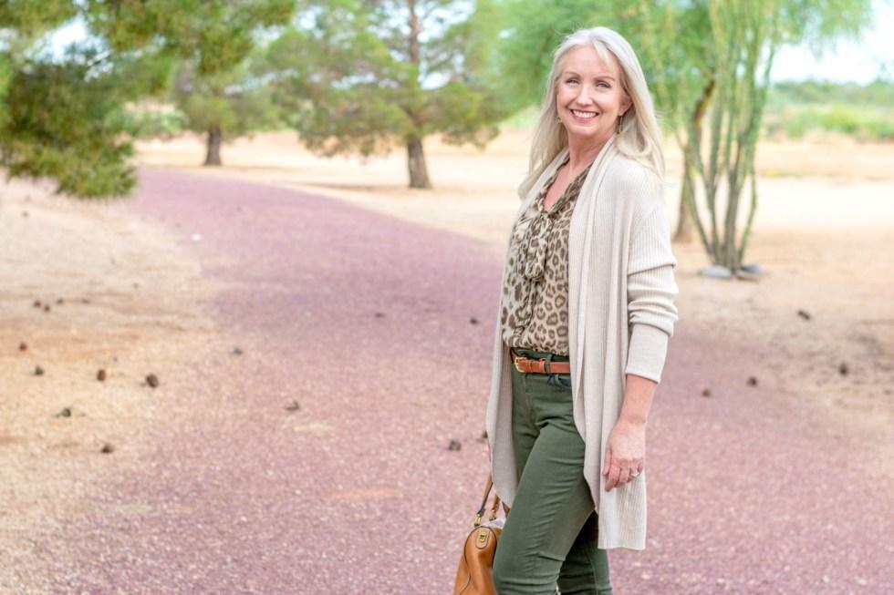 Colored Jeans Leopard Print Blouse