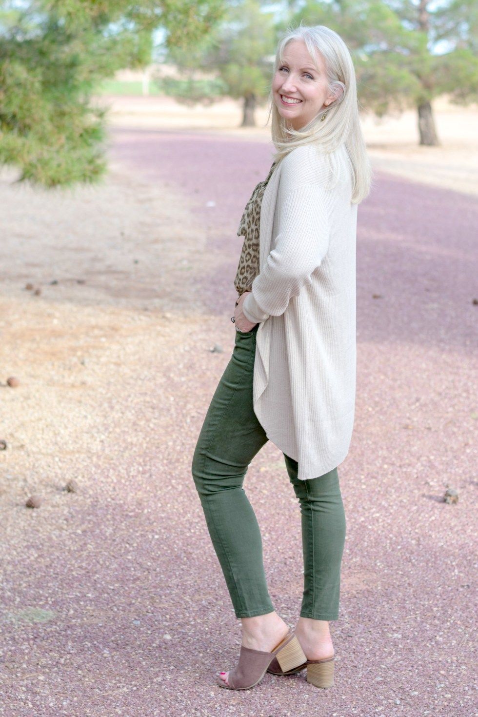 Colored Jeans and Leopard Print Blouse 7