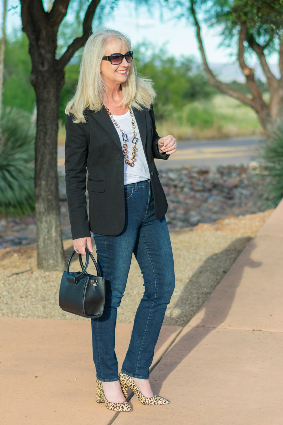 How to Style a Basic Black Blazer with a T-Shirt