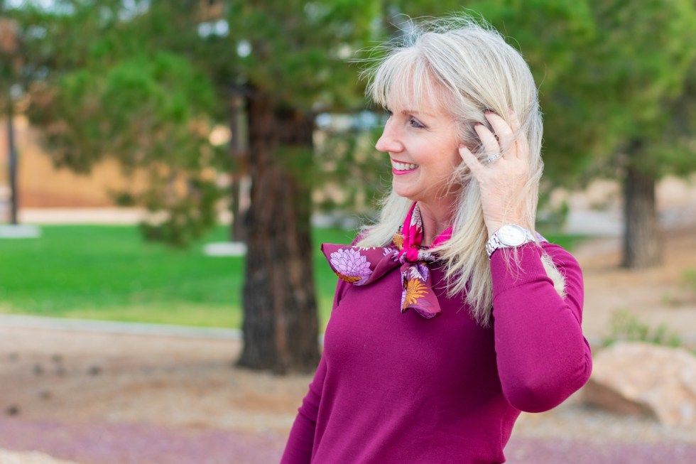 A Floral Silk Scarf with Classic Workwear