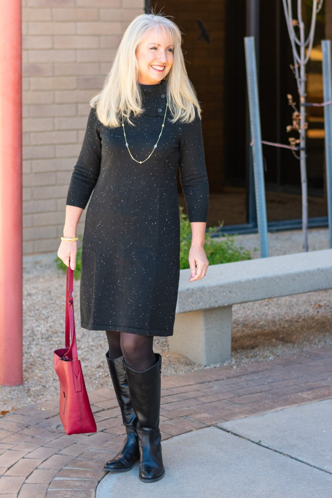 Donegal Sweater Dress with Riding Boots