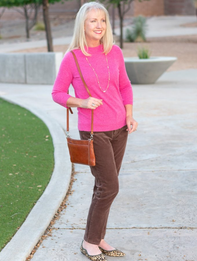 Fall Fuchsia Cashmere Sweater + Corduroys