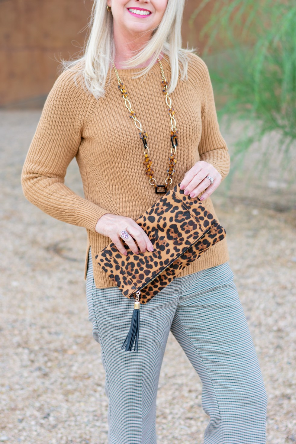 Soft Caramel Sweater and Check Trousers