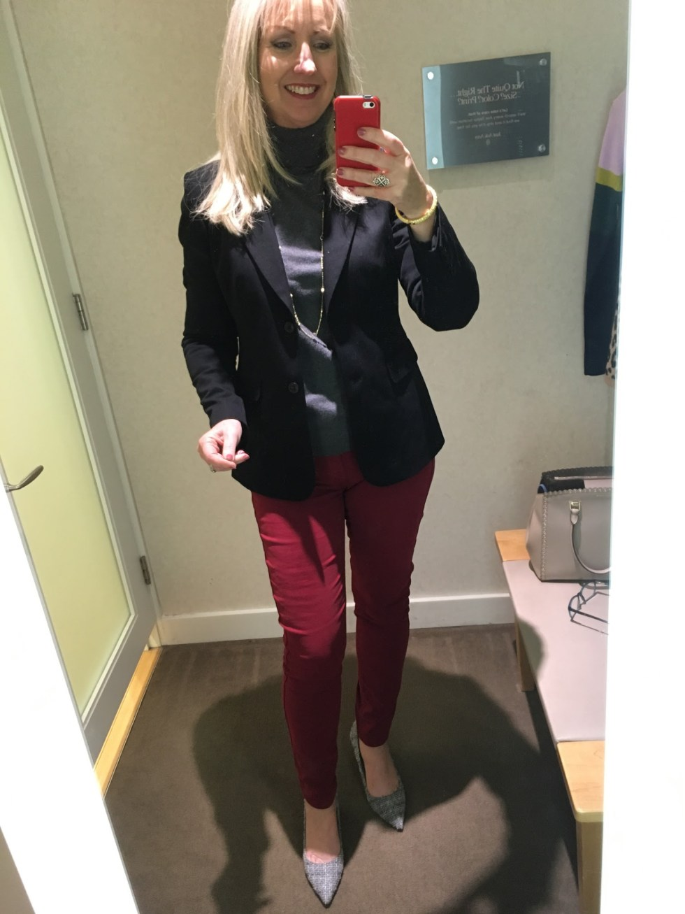 Black Blazer with Burgundy Jeans