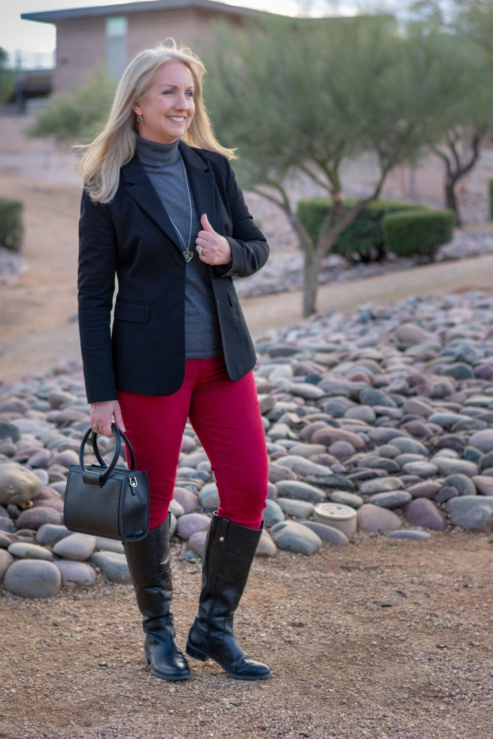 Black Blazer with Cranberry jeans and boots