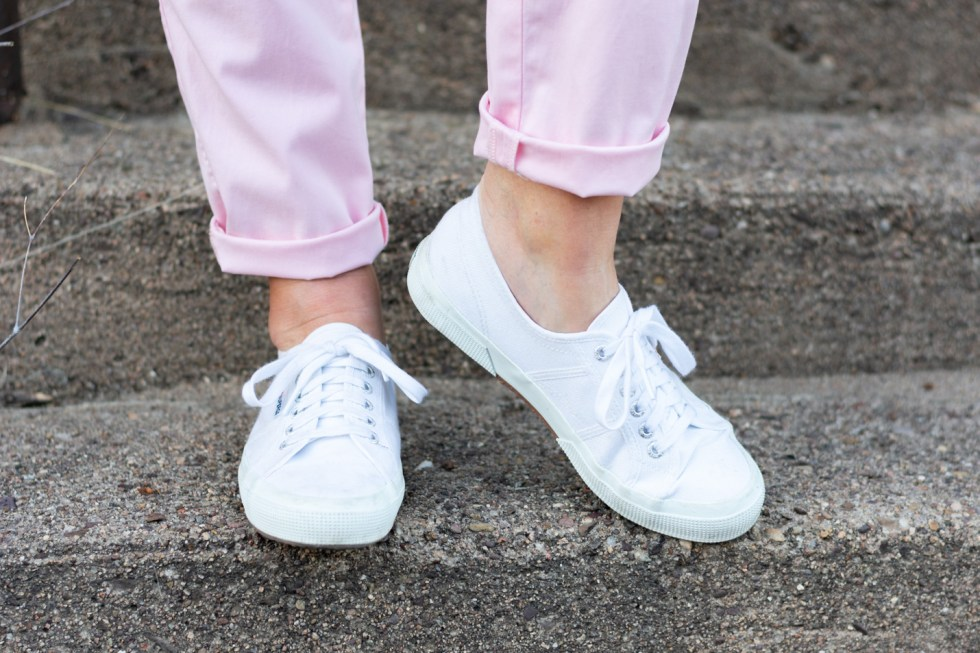 Blush Pink Chinos Topped with Classics
