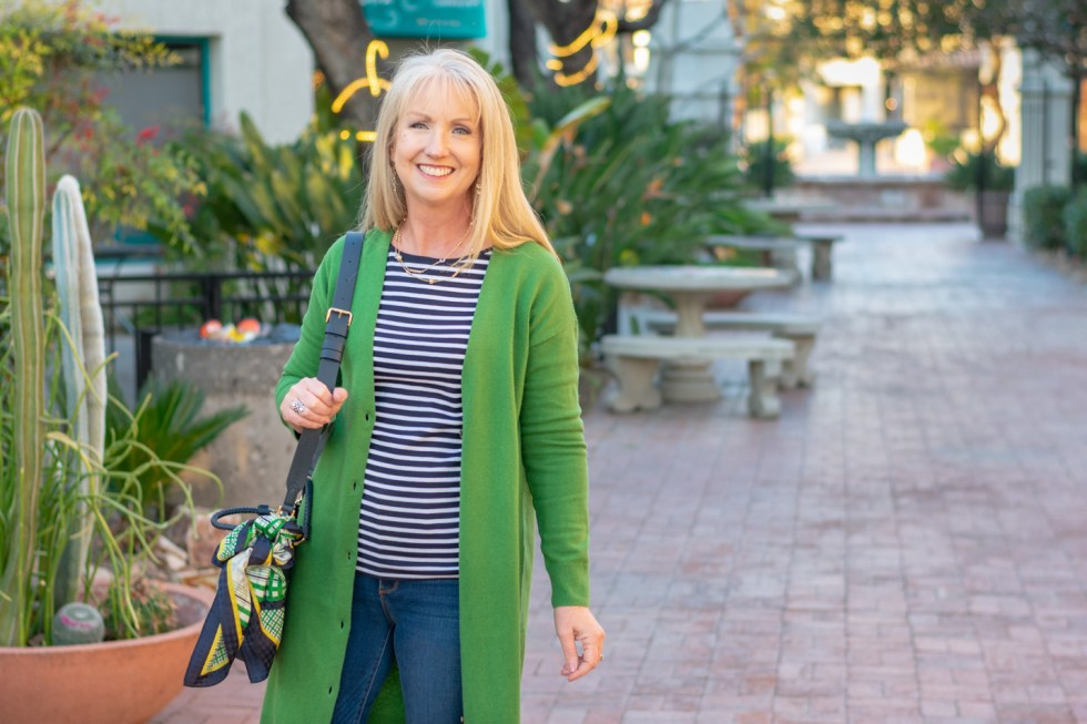 Green Cardigan with Jeans and Striped Tee