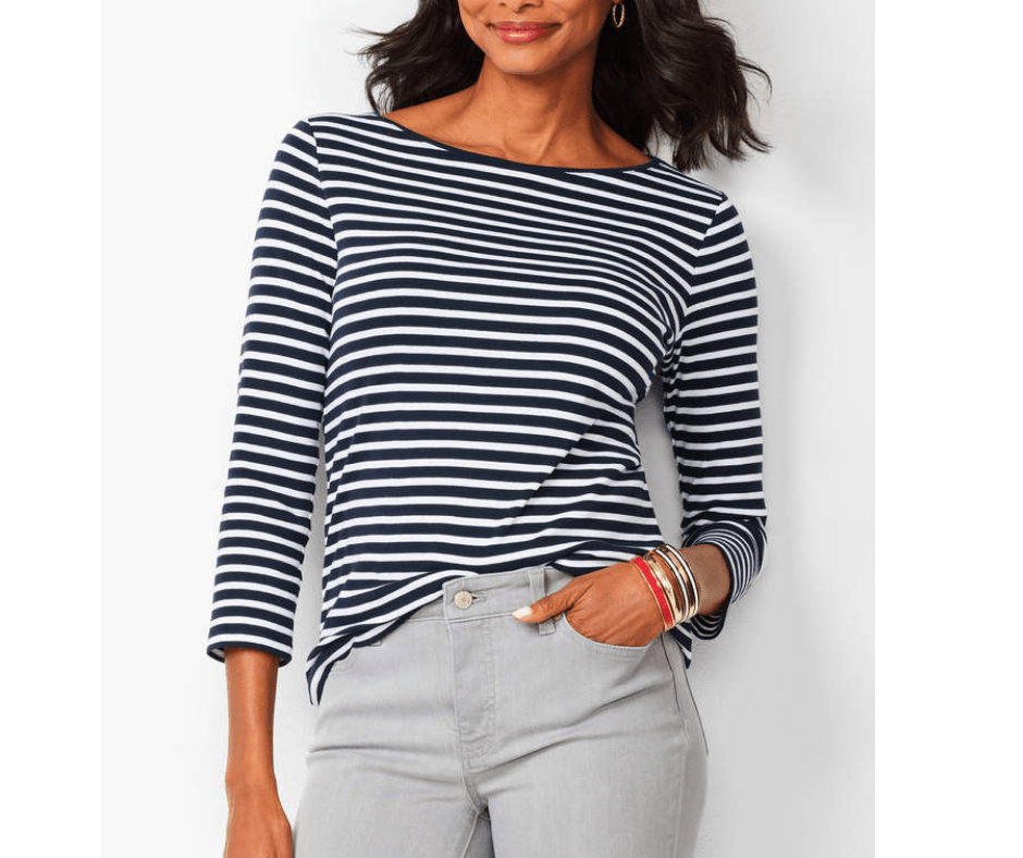 March Favorites Navy and White Stripe Tee