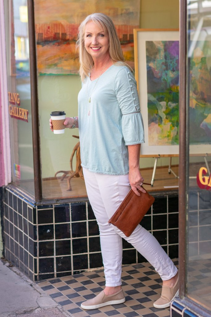 Spring Pastels with White Jeans