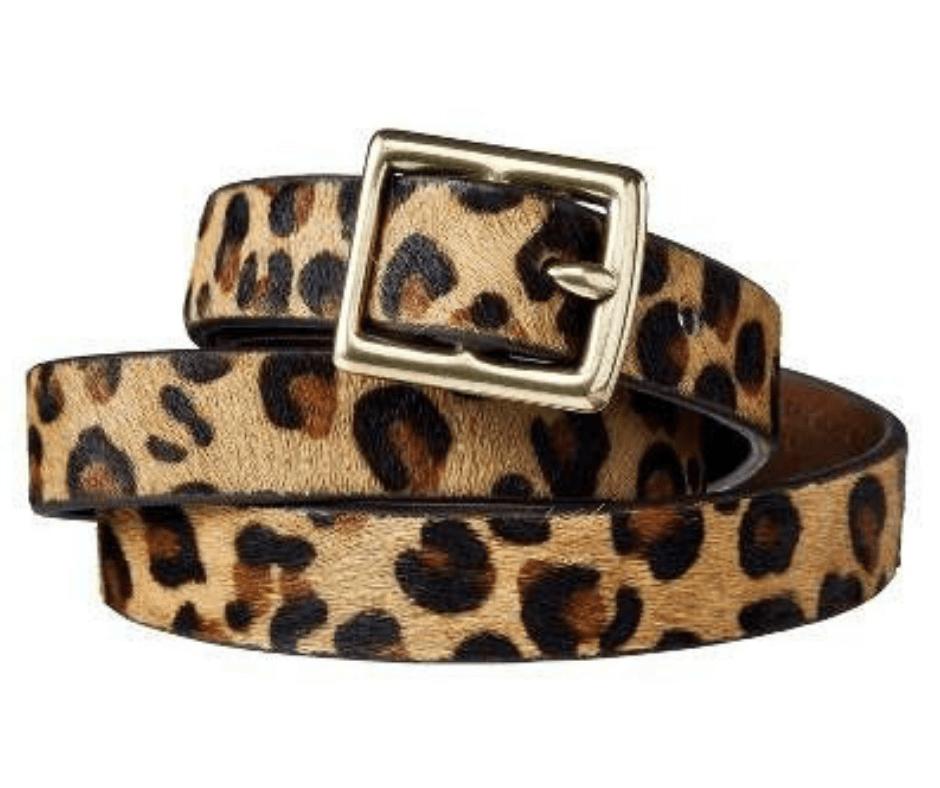 April Favorites - leopard print calf hair belt from Target