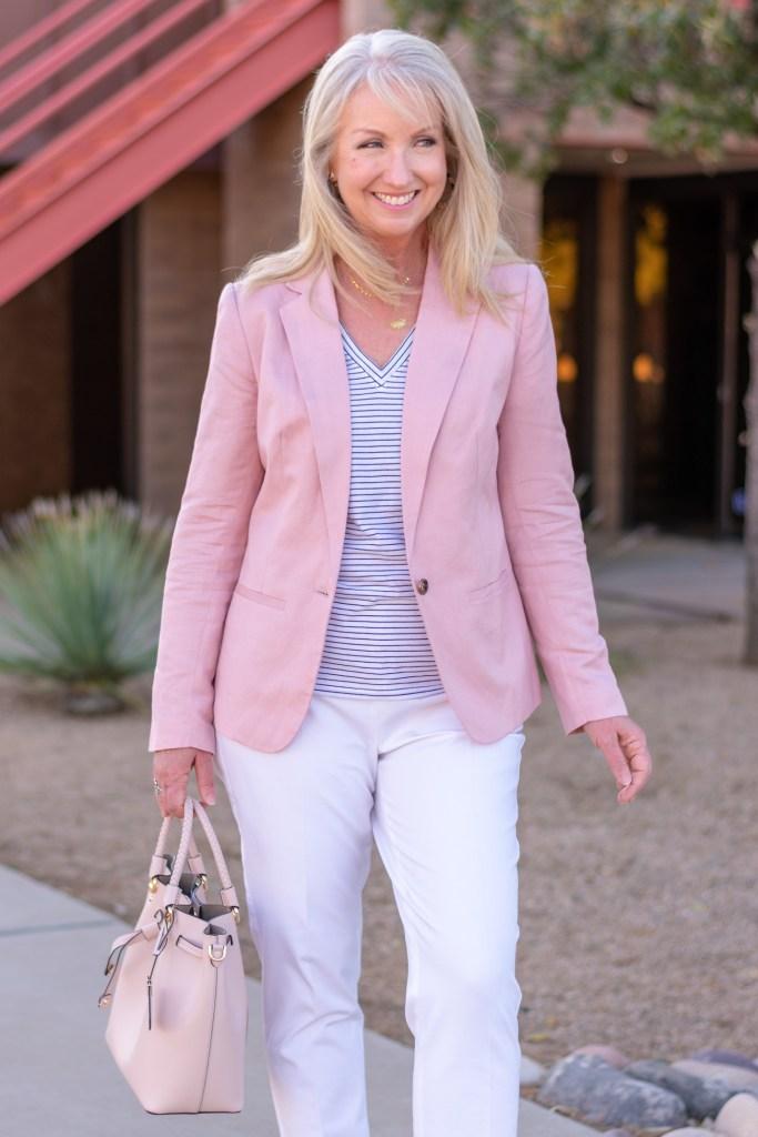 Blush Pink Blazer + White Pants
