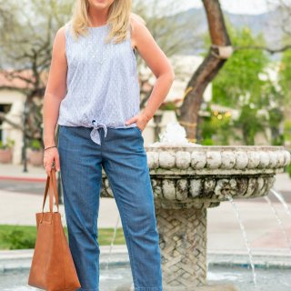 Chambray Drawstring Pants Instead of Shorts