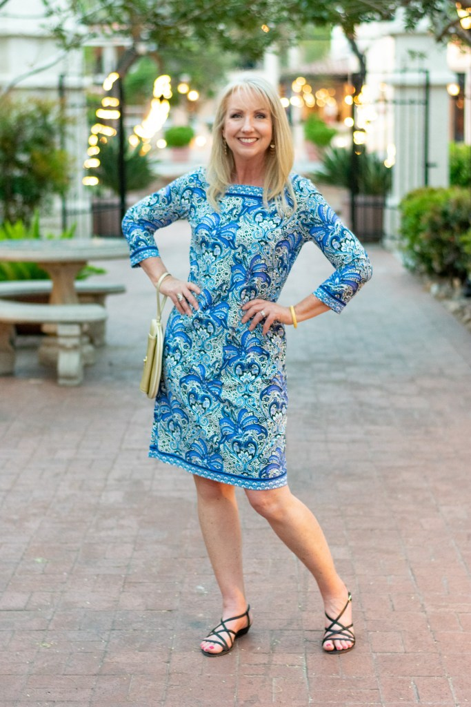 Paisley Knit Shift Dress for Spring and Summer