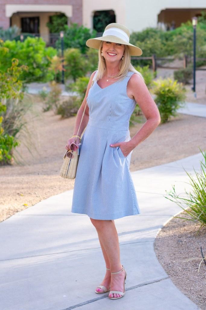Seersucker Fit & Flare Dress