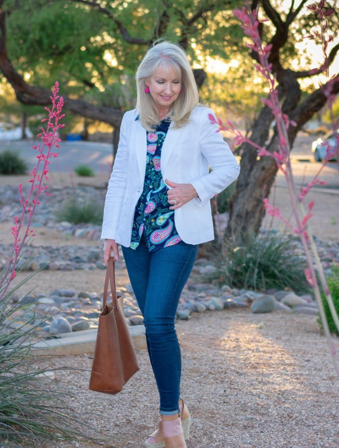 Styling a White Linen Blazer with Indigo Blue