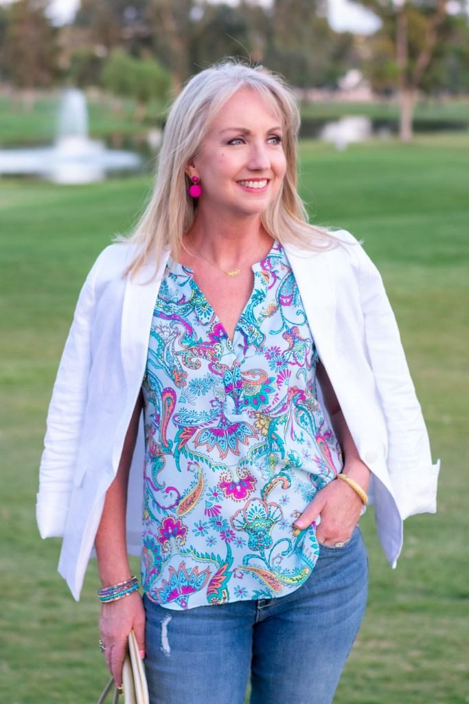 White Linen Blazer for Date Night