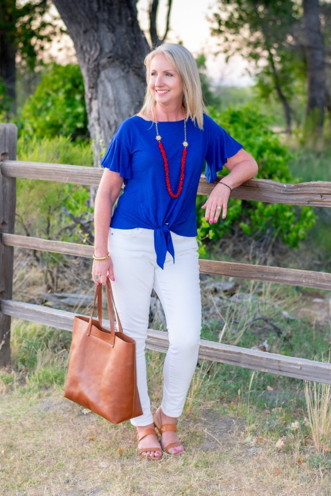 Blue flutter sleeve tee 2 ways