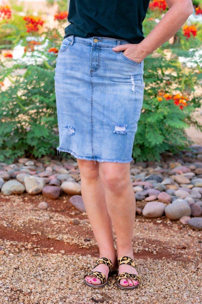 Distressed blue jean skirt