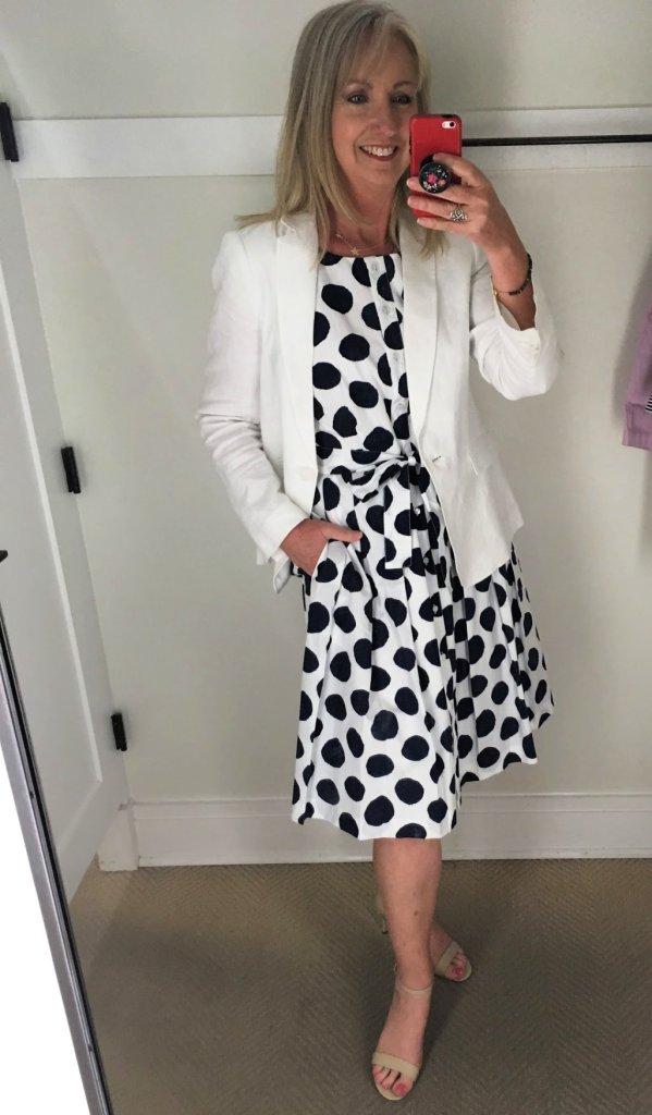 white blazer with poplin shirt dress
