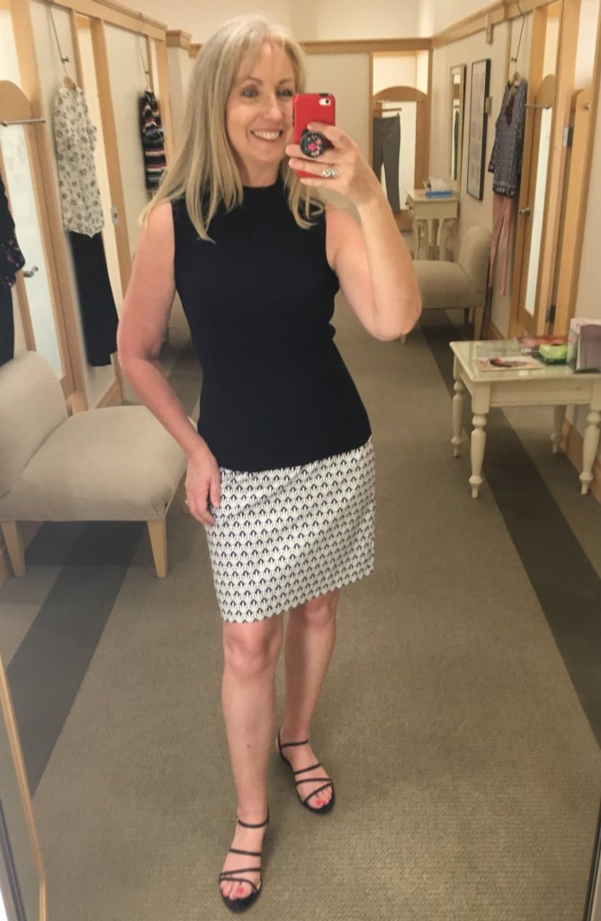skirt and mock turtleneck