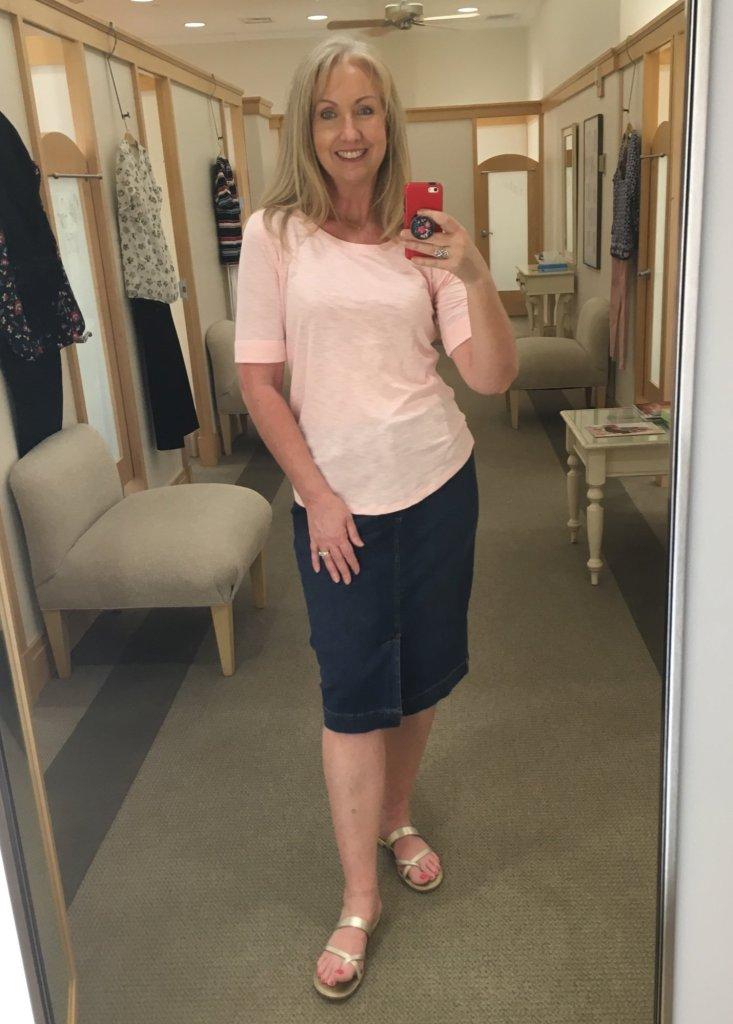 denim skirt and pink tee