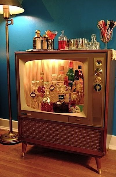 Old TV bar cart